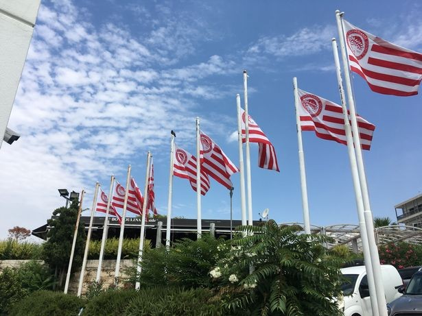 The Olympiacos offices sit on the waterfront in Piraeus