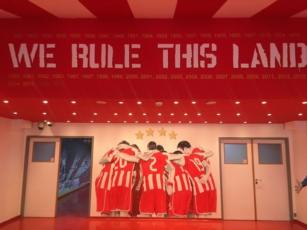 The final message the players see in the Olympiacos tunnel